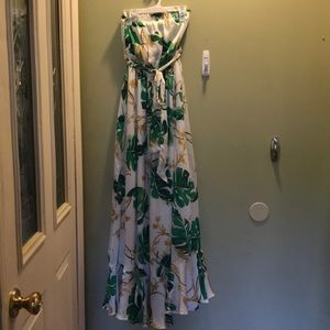 Strapless tropical Maxi dress with waist belt